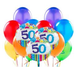 Parti - 50 Yaş Rengarenk Balon Demeti 23 Adet