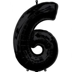 Parti - 6 Rakamı Siyah Renk Folyo Balon 100 cm
