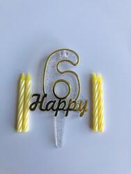 Parti Dünyası - 6 Yaş Altın Renk Happy Yazılı Mum