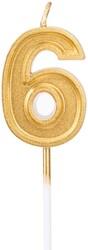 Parti Dünyası - 6 Yaş Altın Renk Mum 12 cm 1 Adet
