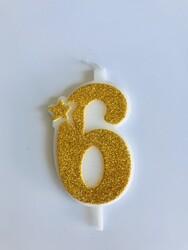 Parti Dünyası - 6 Yaş Altın Renk Mum