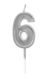 Parti Dünyası - 6 Yaş Gümüş Renk Mum 15 cm 1 Adet