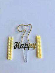 Parti Dünyası - 7 Yaş Altın Renk Happy Yazılı Mum