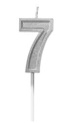 Parti Dünyası - 7 Yaş Gümüş Renk Mum 15 cm 1 Adet