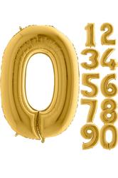 Parti - 80 cm Folyo Balon 0 Rakamı Gold Altın Renkli