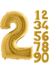 Parti - 80 cm Folyo Balon 2 Rakamı Gold Altın renkli