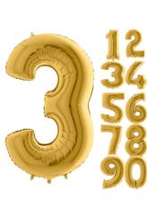 Parti - 80 cm Folyo Balon 3 Rakamı Gold Altın Renkli