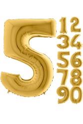 Parti - 80 cm Folyo Balon 5 Rakamı Gold Altın Renkli