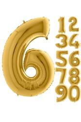 Parti - 80 cm Folyo Balon 6 Rakamı Gold Altın Renkli