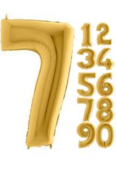 Parti - 80 cm Folyo Balon 7 rakamı Gold Altın Renkli