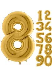 Parti - 80 cm Folyo Balon 8 Rakamı Gold Altın Renkli