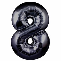 Parti - 8 Rakamı Siyah Renk Folyo Balon 100 cm