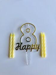 Parti Dünyası - 8 Yaş Altın Renk Happy Yazılı Mum
