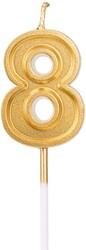 Parti Dünyası - 8 Yaş Altın Renk Mum 12 cm 1 Adet