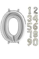 Parti - 80 cm Folyo Balon 0 Rakamı Gümüş Renkli