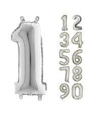 Parti Dünyası - 80 cm Folyo Balon 1 Rakamı Gümüş Renkli