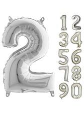 Parti - 80 cm Folyo Balon 2 Rakamı Gümüş Renkli