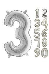 Parti - 80 cm Folyo Balon 3 Rakamı Gümüş Renkli