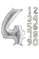 Parti - 80 cm Folyo Balon 4 Rakamı Gümüş Renkli