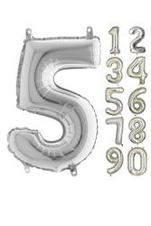 Parti - 80 cm Folyo Balon 5 Rakamı Gümüş Renkli