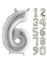 Parti - 80 cm Folyo Balon 6 Rakamı Gümüş Renkli