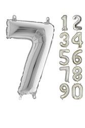 Parti - 80 cm Folyo Balon 7 Rakamı Gümüş Renkli