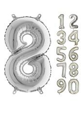 Parti - 80 cm Folyo Balon 8 Rakamı Gümüş Renkli