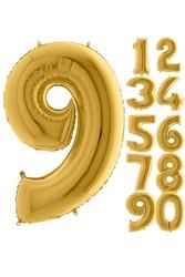 Parti - 80 cm Folyo Balon 9 Rakamı Gold Altın Renkli