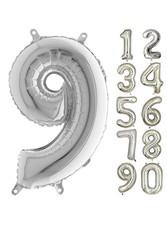 Parti - 80 cm Folyo Balon 9 Rakamı Gümüş Renkli