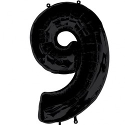 Parti - 9 Rakamı Siyah Renk Folyo Balon 100 cm