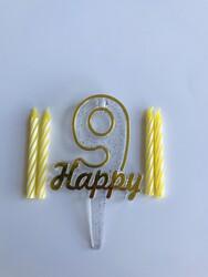 Parti Dünyası - 9 Yaş Altın Renk Happy Yazılı Mum