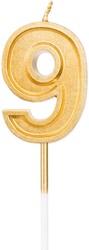 Parti Dünyası - 9 Yaş Altın Renk Mum 12 cm 1 Adet
