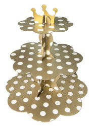 Parti Dünyası - Altın Beyaz Puantiyeli Cupcake Standı 32 x 35 cm