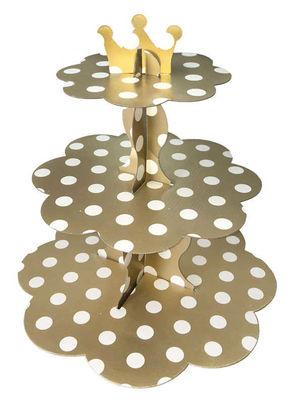 Altın Beyaz Puantiyeli Cupcake Standı 32 x 35 cm
