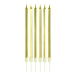 Parti Dünyası - Altın Renk İnce Uzun Mum 6 Adet 14 cm