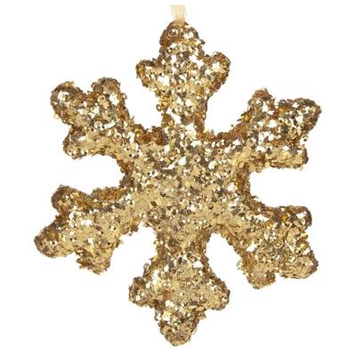 Altın Renk Kar Tanesi Çam Ağacı Süsü