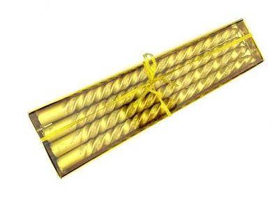 Altın Renk Simli Burgulu Şamdanlık Mum 4 Adet