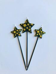 Parti Dünyası - Altın Sim Siyah Yıldız Mum 3 Adet 15 cm