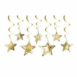 Parti Dünyası - Altın Yıldızlar Tavan Süsü 10 Adet / 3D