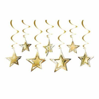 Altın Yıldızlar Tavan Süsü 10 Adet / 3D