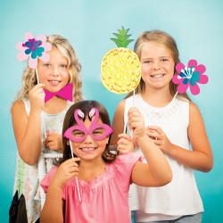 Parti Dünyası - Ananas, Flamingo Fotoğraf Çekme Aksesuarları 10 Adet