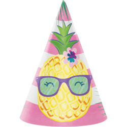 Parti Dünyası - Ananas, Flamingo ve Arkadaşları Şapka 8 Adet