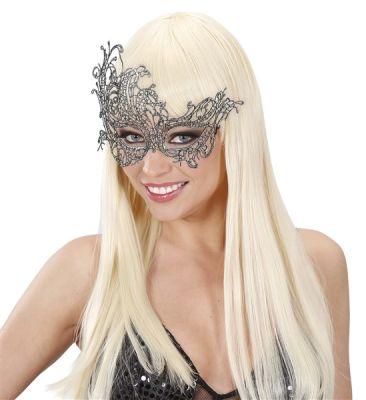 Antik Gümüş Dantelli Şık Maske