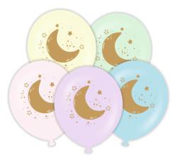 Parti - Ay ve Yıldızlı Altın Renk Baskılı 6 lı Latex Balon