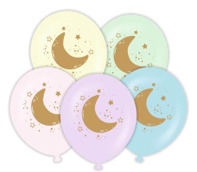 Ay ve Yıldızl Altın Renk Baskılı 6 lı Latex Balon