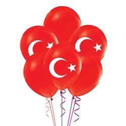 Parti Dünyası - Ay Yıldız Kırmızı Renk 10 Adet Balon