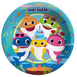 Parti Dünyası - Baby Shark Partisi Tabak 23 Cm 8 Adet
