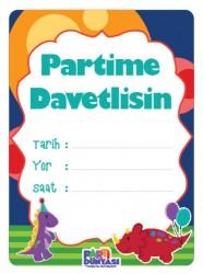 Parti Dünyası - Renkli Dinozorlar 6 lı Türkçe Davetiye