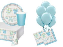 Parti Dünyası - Bebek Kıyafetleri Mavi 16 Lı Parti Seti