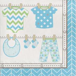 Parti Dünyası - Bebek Kıyafetleri Mavi Peçete 16 Adet